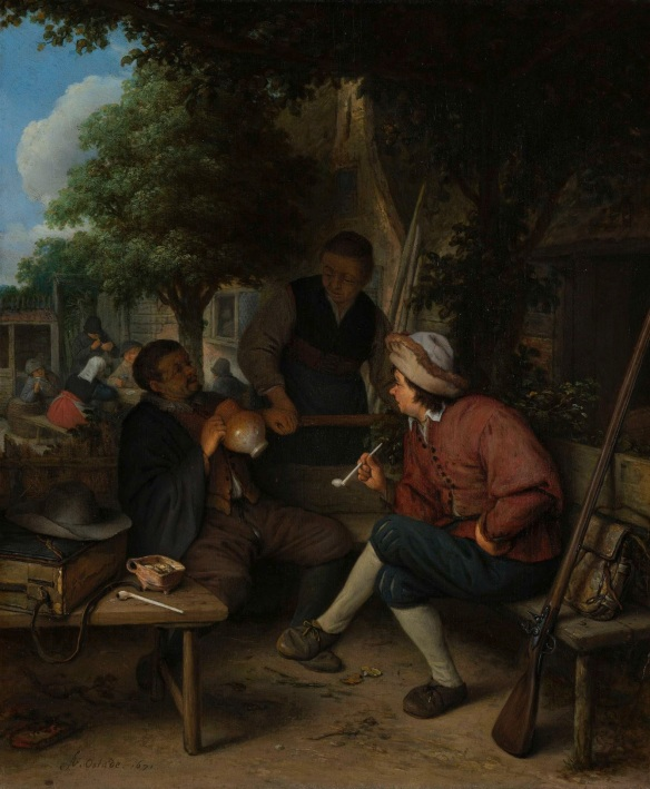 "Adriaen van Ostade, ""Travellers at Rest"" (1671). An elderly peasant and a somewhat younger man who has been hunting – his game bag and gun lie next to him – are seated with a tankard of beer or a pipe in the garden of an inn. After 1670 Adriaen van Ostade painted very few interiors; scenes set in the open air gained the upper hand. These tableaux contain little in the way of a moralizing message; instead, they extol unhurried, simple country life."