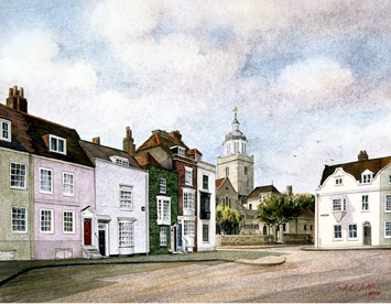 Houses in St. Thomas Street, Portsmouth, similar to the ones the Price family would have lived in.