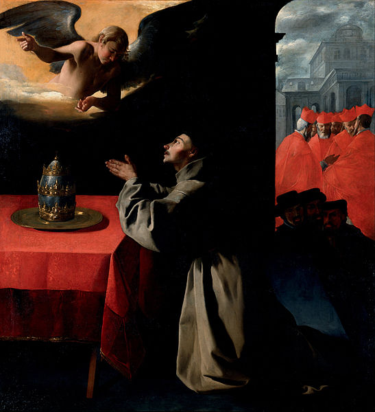 """The Prayer of St. Bonaventura about the Selection of the New Pope"" (1628–29) by Francisco de Zurbarán"