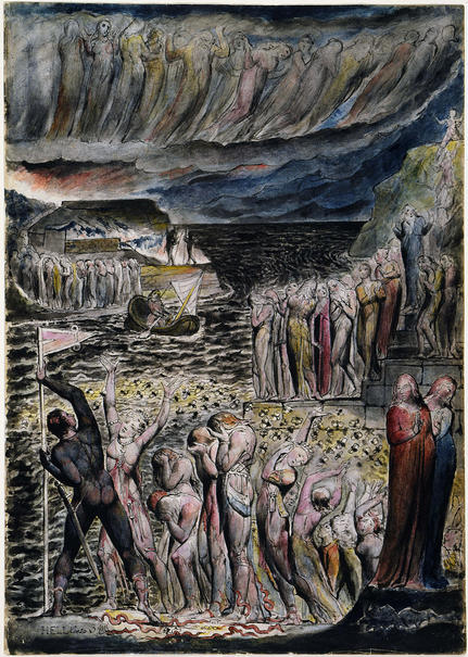 "William Blake, ""The Vestibule of Hell and the Souls Mustering to Cross the Acheron"""